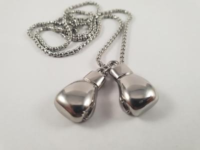 Pair of Boxing Gloves Stainless Steel biker pendant and necklace Rocky Balboa