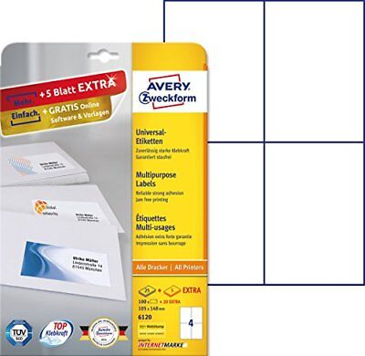 Avery Zweckform Universal Labels 100x A4Plus Extra 6120Labels 105x 148mm 3
