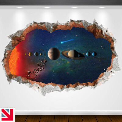 PLANETS SOLAR SYSTEM ASTRONOMY SPACE Wall Decal Sticker Vinyl WALL HOLE A4