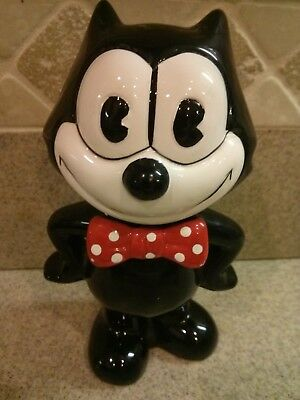 """Vintage Felix The Cat Ceramic Bank 7"""" Tall  Red Bow Tie"""