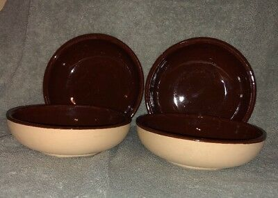 "4 Vintage Watt Pottery Oven Ware Brown Tan Bisque 6"" Soup Salad Bowls"