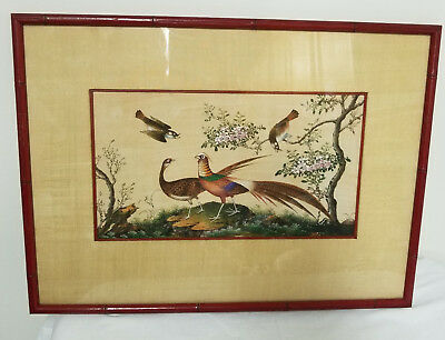 Antique Chinese Export Unusual Large Landscape Painting Pheasant Birds Rice Pith