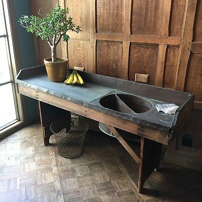 Antique Copper Sink, Large Farmhouse Sink With Drainboard