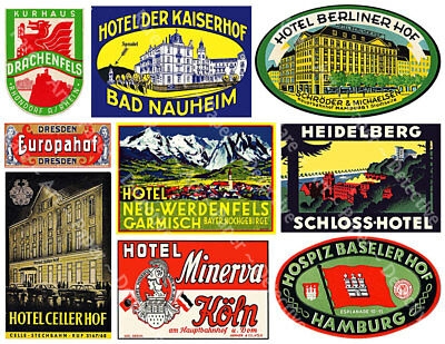 Hotel Luggage Labels, 2 Sticker Sheets, Baggage Labels, Vintage Travel Stickers