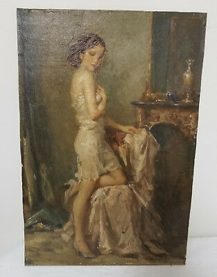 Antique Oil Canvas Painting Beautiful Girl Attributed Luis Mora Signed Illegibly