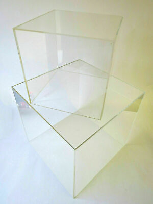 Acrylic Display Cubes 5 Sided Open 1 End 4 Sizes 100mm, 200mm, 300mm, 400mm