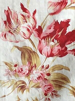 Antique Vintage Shabby Chic French Fabric Floral Roses Tulips RED PINKS!