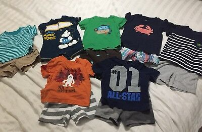 Lot 12 Month Boy Summer Clothes 7 Outfits Carters Circo Disney Tops Shorts READ
