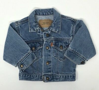 Vintage Little Levis Blue Denim Jean Jacket Orange Tab Toddler 18 Months VTG