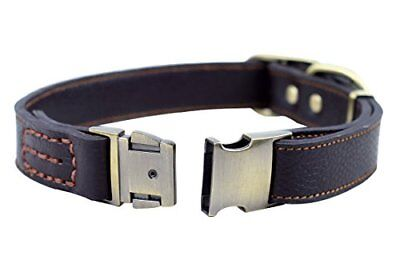 Rantow Adjustable Comfortable Finest Genuine Brown Leather Pet Dogs Collars For