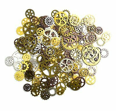 euhuton 100 Gram Multicolored Assorted Antique Watch Parts Steampunk Cogs Gears
