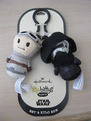 Hallmark Itty Bittys Clippys Star Wars Rey and Kylo Ren Keychain Backpack Dangle