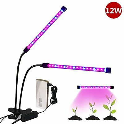 [Dual Head] LED Plant Grow Light,Florally USB Clip-On 12W 2 Level Dimmable 36 LE