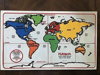 Vintage Playskool Wood Inlaid Puzzle Map of the World