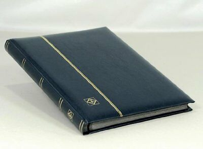 Lighthouse Stockbook A4, 32 black pages,padded cover, blue