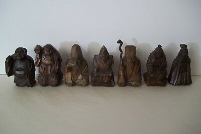 Seven Lucky Gods Carved Wood - Japanese Deities of Fortune