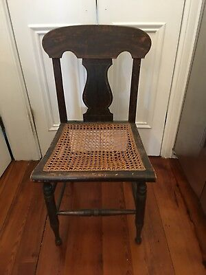 Antique Wood Chair With Caned Seat Needs Some TLC