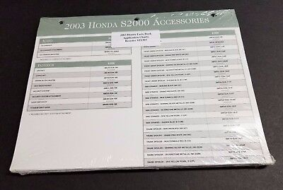 2003 Honda Facts Book Accessories Application Charts Unopened - S2000