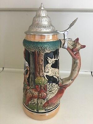 Great Hunters Stein Jar Classic Steel Collectable Porcelain Handmade German