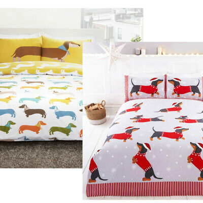 Dachshund Sausage Dog Reversible Duvet Quilt Cover Bedding Set with pillowcases