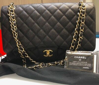 9c2c11178e41 Authentic Chanel Classic Jumbo Black Caviar Leather Single Flap Bag GHW