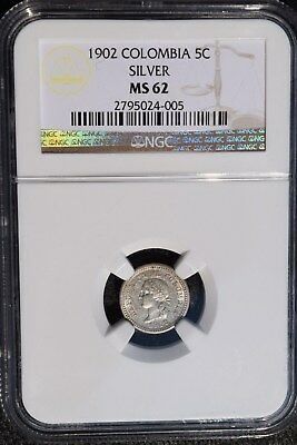 1902 Colombia 5 Centavos, NGC MS 62