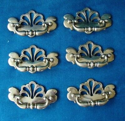 Lot of 6 Vintage Brass Metal Drawer Pulls Chippendale Style 964-3 / RARE