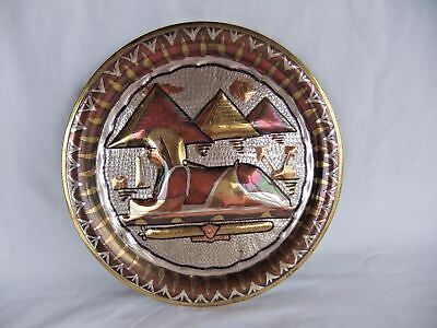 Vintage Egyptian Handmade COPPER PLATE Sphinx PLAQUE SILVER Inlay Decor Egypt