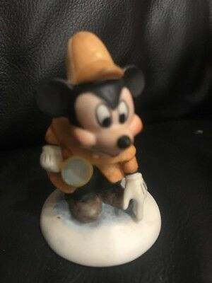 1987 Mickey Mouse Detective Bisque Figurine, Franklin Mint The Disney Collection