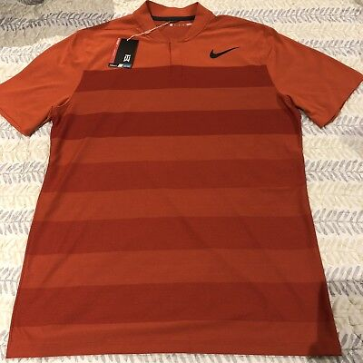 015c197e Nike Tiger Woods TW Mens Zonal Cooling Stripe Blade Golf Polo Shirts Medium  M