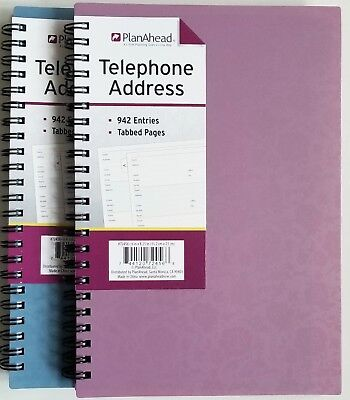 """PlanAhead Address /Telephone book #72456, Tabbed Pages  6"""" X 8.25"""" colors vary"""
