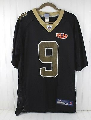Reebok Men s Black Gold NFL NEW ORLEANS SAINTS DREW BREES  9 Jersey Sz  Medium af5e8911b