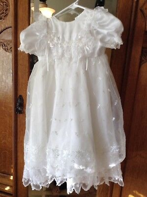 Baby Girl Christening Baptism 9-12 month White Dress Gown