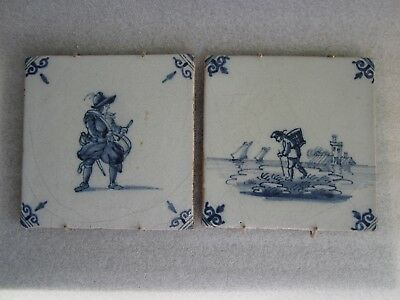 Pair of Beautiful Antique Dutch Delft Hand Painted Tiles