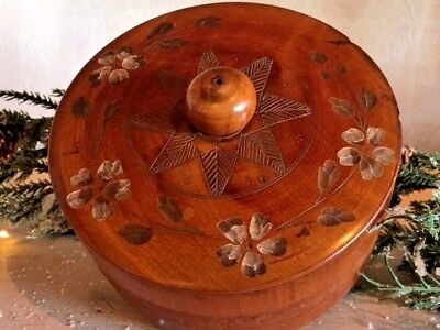Antique Wood Box Hand Carved Hand Turned Trinket Box Sewing Box