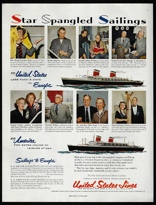 1954 Vintage Print Ad 50's UNITED STATES LINES cruise ship boat image travel