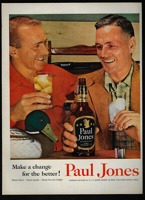 1954 Vintage Print Ad 50's PAUL JONES whisky drinking alcohol image
