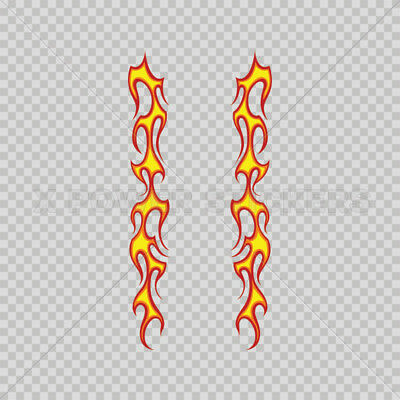 Decals Stickers Pair Of Long Flames Pattern Red Yellow 0500 03017