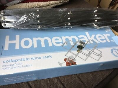 Collapsible chrome finish WINE RACK, holds 8 wine bottles NWT Unwanted gift