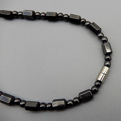 "Men Womens Black Hematite Beads Strand Choker Necklace 18"" Magnet Clasp"
