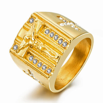 18k Gold Plated Stainless Steel Christian Catholic Cross Jesus Men's Ring M5