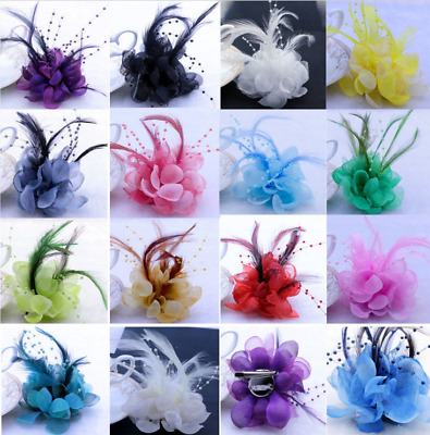 Handmade Large Women Feather Floral Hair Fascinator Hat Headband Accessories
