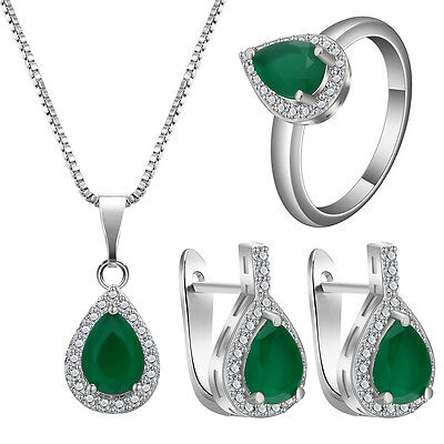Fashion Women Natural Emerald Silver Plated Pendant+Earring+ Ring Jewelry Set