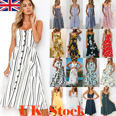 Womens Holiday Strappy Button Dress Ladies Summer Beach Midi Swing Sun Dress UK