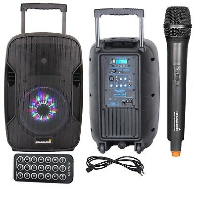 STARAUDIO 1500W 10 Inch USB Rechargeable Battery Bluetooth Speaker LED Light Mic