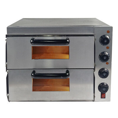 NEW Commercial Electric Pizza Oven Double Deck   Stone Base  Baking Fire
