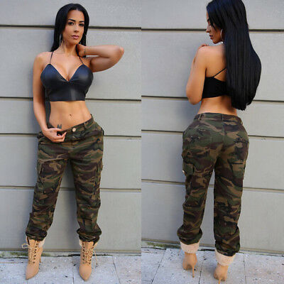 Womens Camo Cargo Trousers Casual Pants Military Army Combat Camouflage Jeans