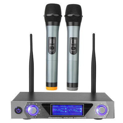 Pro VHF Wireless Microphone System 2 Channel Dual Handheld Mic Kit Party Karaoke