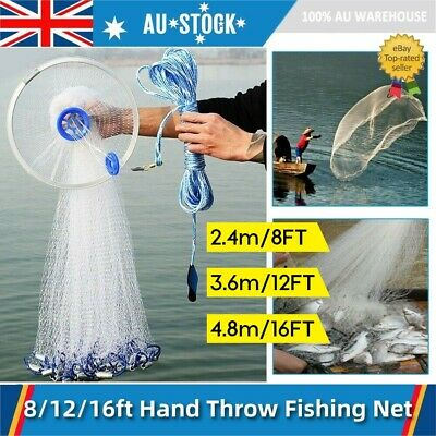 Top Quality Cast Net Quick Throw Mesh 8 12 16ft 3/8'' Mesh Fishing Catch Net AU