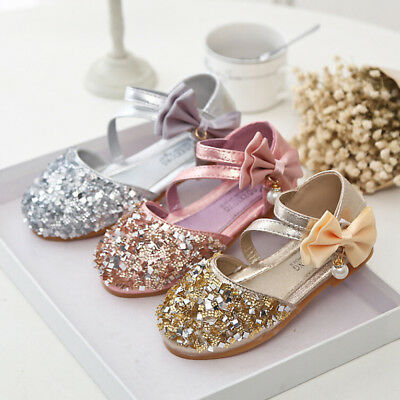 Toddler Kids Girls Sequin Bling-Bling Princess Leather Bow Dance Single Shoes